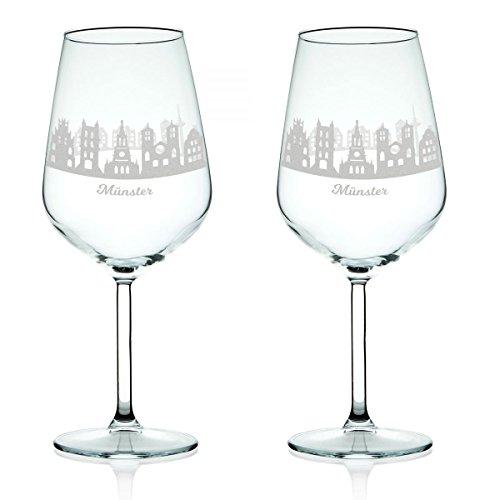 Leonardo Verre à vin avec gravure – Skyline Münster en kit – Cadeau Pour exigeants & vin genießer – Souvenirs de souvenirs Ville mitbringsel – Cadeau d'anniversaire Cadeau de Noël