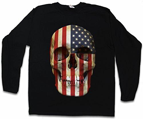 3fc36ef517eb USA Stars   Stripes Skull Flag T-Shirt De Manga Larga Long Sleeve Shirt -  United Estados Bandera cráneo Unidos States Banner America US T-Shirt De  Manga ...