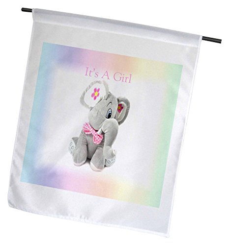 3dRose Print von Seiner EIN Mädchen mit Baby Elefant auf Pastell Farbverlauf-Garten Flagge, 12durch 45,7cm -