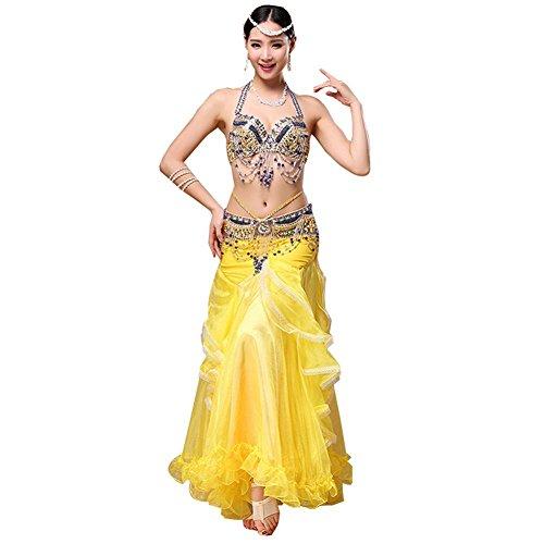 Bauch Tanzen Frau Handmade Diamant Perlen BH Bund Welle Rock Modern Indien Performance Kostüm Set Yellow M