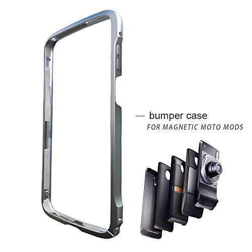 Dngn Moto Z3/ Z3 Play Hülle Bumper Case, Stoßstange Rahmen Abdeckung Kompatibel Moto Mods Aluminium Metall Slim Fit für Motorola Moto Z3/ Z3 Play Schutzhülle (Moto Z3 Bumper Silber)