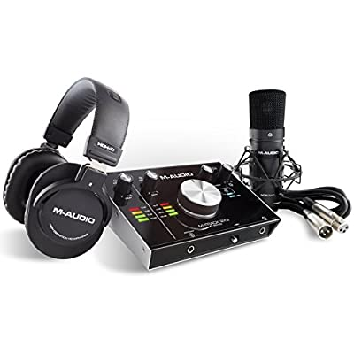 M-Audio M-Track 2 x 2 Vocal Studio Pro, Complete Vocal Production Package with USB Audio Interface, Condenser Microphone, XLR Cable, Headphones with Cubase and Plug-In Software Package