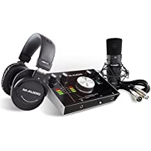 M-Audio M-Track 2X2 Vocal Studio Pro Pacchetto Completo per Registrazione e Produzione con Interfaccia Audio USB 24 Bit/192KHz, Microfono a Condensatore, Cuffie da Studio, Cavo XLR, Pacchetto Software