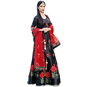 Bridaal Royal Women's Cotton Silk Dress Material(LGHN102_Black_Medium)