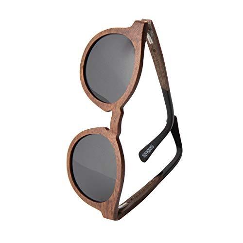 WOLA Damen Sonnenbrille Holz BAUM Brille rund Vollholz und Acetat polarisiert UV400 Nussholz Linse grau Unisex Damen M - Herren S