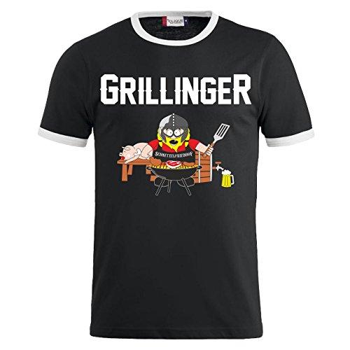 Männer und Herren T-Shirt Grillinger Schwarz/Weiß
