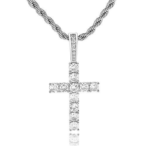 ANLW 925 Sterling Silber Halskette voller Zirkon solide Kreuz Anhänger religiöse christliche Halskette Männer/Frauen Europa und die Vereinigten Staaten Mode-Accessoires Geschenke,Silver