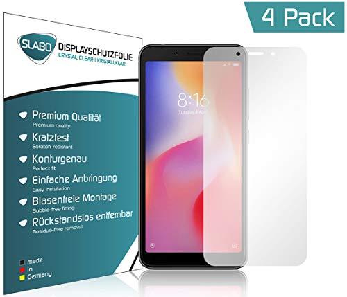 Slabo 4 x Bildschirmschutzfolie für Xiaomi Redmi 6 | Redmi 6A Bildschirmfolie Schutzfolie Folie Zubehör (verkleinerte Folien, aufgr& der Wölbung) Crystal Clear KLAR - unsichtbar Made IN Germany