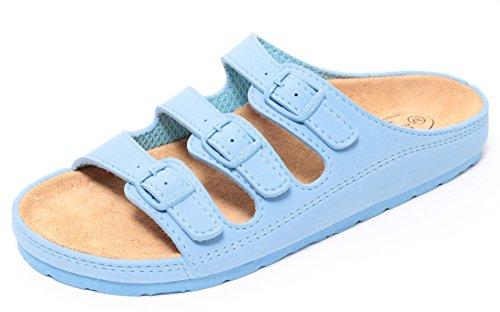 Zapato Damen Bio Clogs Tieffußbett Pantolette Sandale Slipper Schuhe Soft Blue Gr. 37-41 (39)