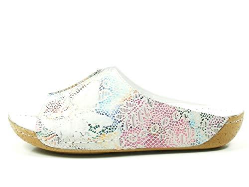 Andrea Conti Damen Pantoletten Pantoffel mit Print 0023576-091 weiß 292279