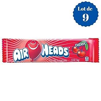 Airheads Cherry - Cerise - Confiseries Américaines Fruitées - Lot de 9 Bonbons de 16 g