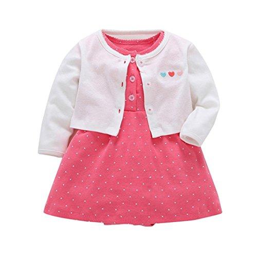 Baby Elfenbein Mantel (Mädchen Kleid + Mantel Kleidung Set,OverDose Neugeborenen Baby Mädchen Floral Blumen Bluse Kleid + Feste Mantel Outfits Kleidung Set(6 Monate,Weiß))