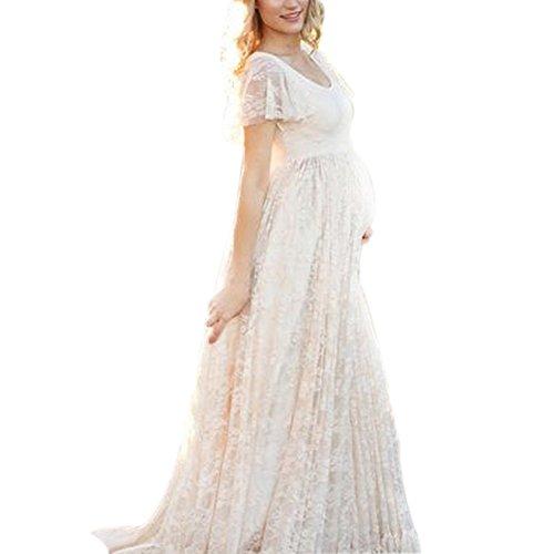 Dulcklane Fotografía vestido de maternidad, gasa de encaje largo elegante vestido de...