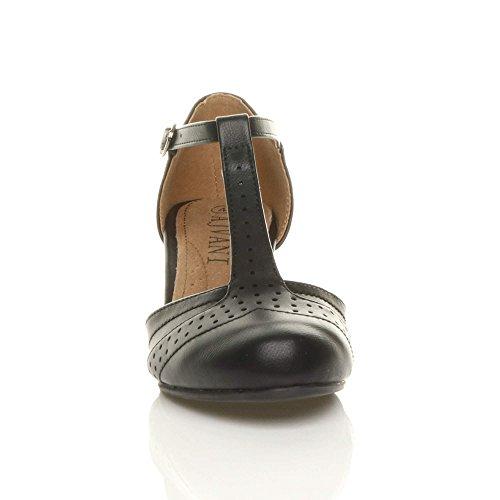 Damen Mitte Blockabsatz T-Riemen Ausgeschnitten Brogues Pumps Sandalen Größe 5 38 - 6