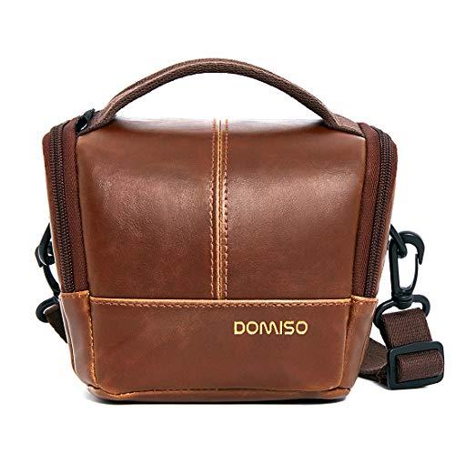 DOMISO Camera Case Kameraetui Schutzhülle Schultertasche Kamerazubehör Fototasche für Systemkamera Sony A6500 A5100/Canon EOS M6 M5 800D 70D/Panasonic/Nikon 1 J5/Olympus OM-D E-M1 Mark II,Dunkelbraun