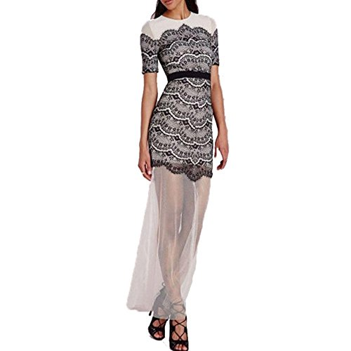 PU&PU Femmes Going Out Mesh Parchwork BodyCon Maxi Robe, col rond Lace-up à manches courtes été as figure