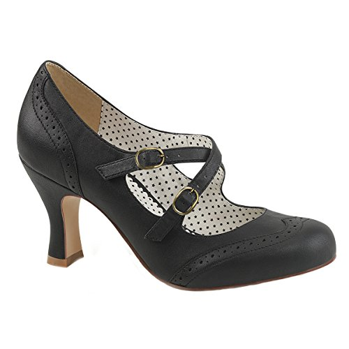 Sexy Klassische Flapper Kostüm - Pin Up Couture Damen Maryjane Pumps Flapper-35 schwarz Gr. 38,5