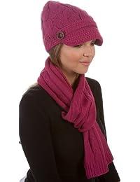 Sakkas Womens 2-teiliges Kabel Strick-Visier Beanie Schal und Hut Set mit Knopf