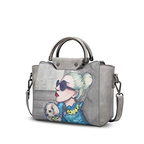 NICOLE&DORIS Elegant Stilvoll Damen Handtaschen Tote Umhängetasche Crossbody Bag Schultertaschen Henkeltaschen Klein Tasche PU Grau