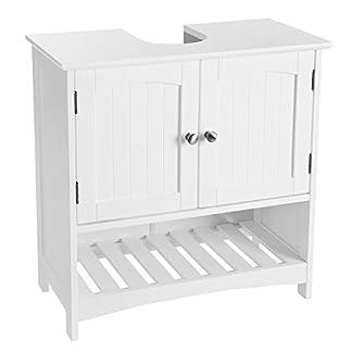 VASAGLE Armario bajo lavabo, Mueble para debajo del lavabo, Armario de baño con compartimento abierto, Estilo rústico, Madera, 60 x 30 x 60 cm, Blanco, BBC03WT