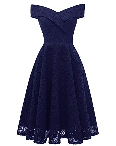 Bright Deer Damen Spitzen-Cocktailkleid Off-Shoulder Midi-Ballkleid mit Kreuz, Knielange Bridesmaid...