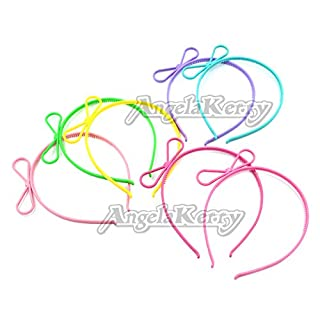 AngelaKerry 7pcs Mix Color Bows Plastic Headbands Hairbands for Girl's Fashion Party DIY
