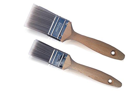 Lackierpinsel Pinsel Set 2-tlg. mit hölzernen Griff | 35mm + 50mm Profi Flachpinsel | Lackierpinsel mit Kunstborsten-Mischung