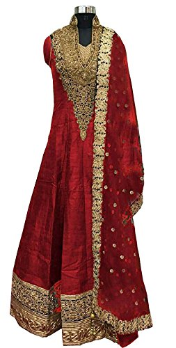 Caffoy Cloth Company Women's Red Color Bangalori Silk Designer Embroidered New Arrive Anarkali Salwar Suit For Wedding.