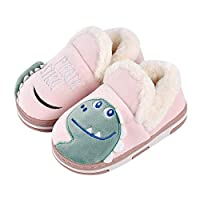 Drecage Kids Slippers Cute Dinosaur Warm Soft Plush House Shoes Anti-Slip Cotton Shoes Boys and Girls Toddler Toddler