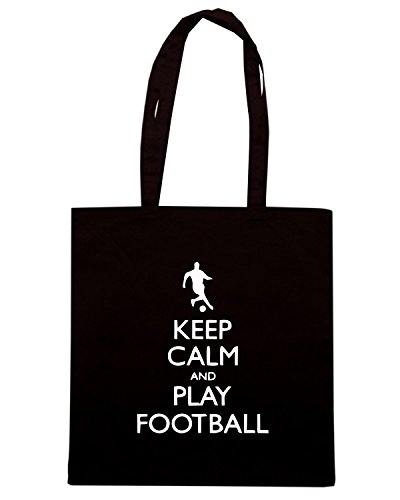 T-Shirtshock - Borsa Shopping WC0097 KEEP CALM AND PALY FOOTBALL Nero