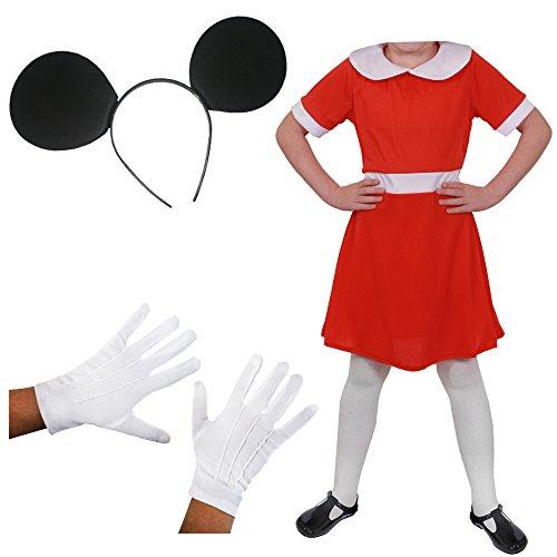 ILOVEFANCYDRESS Verkleidung BERÜHMTE Maus = Das Perfekte KOSTÜM FÜR Kinder +ZUBEHÖR FÜR Fasching+Karneval = Zeichentrick Art =Kleid in ()