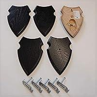 5 unidades REH Bock escudo trofeos carteles con 1 compartimento de pino en roble oscuro con 5 unidades de oido grapas AF 16 x 10 cm