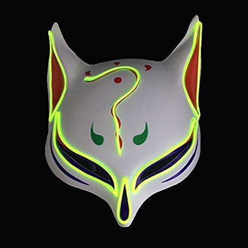 Kostüm Beruhigt - Fox Maske Halloween Karneval Nacht LED Ghost Dance Cat Face Männer und Frauen,A