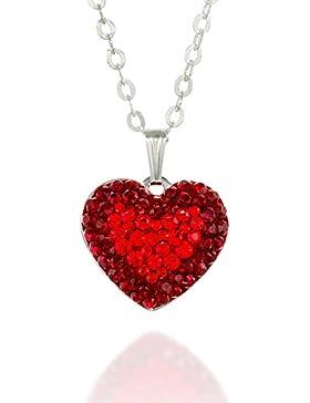 Original Swarovski Kristallpavé rot Herz Anhänger 925Sterling Silber Halskette Kette, 45,7cm + 10,2cm Extender