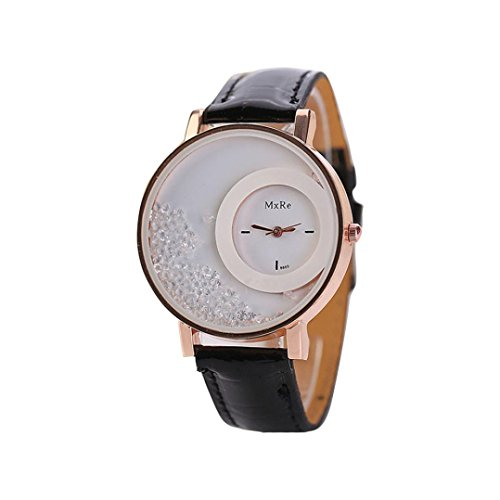 Uhren Dellin Frau Leder Quicksand Strass Quarz Armband Armbanduhr Uhr (Schwarz)