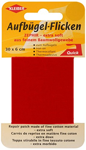 kleiber-30-x-6-cm-extra-soft-fine-cotton-iron-on-repair-tape-red