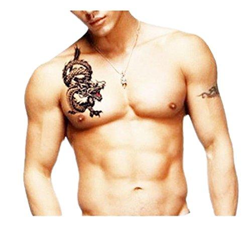 HLHN Ungiftig Wasserdichte Temporäre Tattoos 3D Drache Muster Gefälschte Tattoos Aufkleber (Drache Temporäre Tattoo)