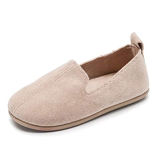ZYLDK Halbschuhe Kinder Gymnastikschuhe Wildleder Leder Loafers Mädchen Ballerinas Schuhe Flats Bootsschuhe Rutschfeste Hausschuhe