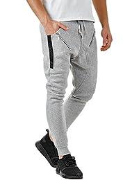 72e20b6f21be EightyFive Herren Jogginghose Sweatpants Zipper Gesteppt mit Seitentaschen  Cargo Schwarz Weiß Grau EF305