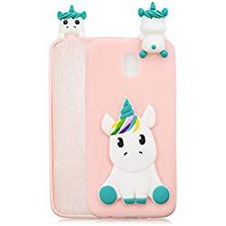 HopMore Funda Samsung Galaxy J5 2017 Silicona Motivo 3D Divertidas TPU Gel One Piece Kawaii Ultrafina Slim Case Antigolpes Caso Protección Flexible Cover Design Gracioso para Samsung J5 2017 - Rosa unicornio
