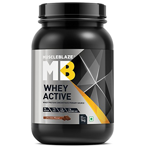 MuscleBlaze Whey Active Protein Supplement Powder - 2.2 lb/1 kg, 30 Servings (Chocolate)