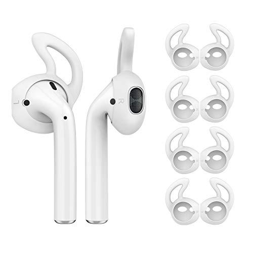MoKo Gommini Auricolari in Silicone Compatible con Apple AirPods(8 Pezzi), EarPods con Supporto Orecchio, Anti-Caduta, Inserti Auricolari Isolamento Rumore, Cuscinetti Cuffie per Auricolari - Bianco
