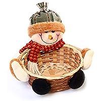 Navidad Candy Almacenamiento Cesta de bambú decoración Cesta (muñeco de Nieve)