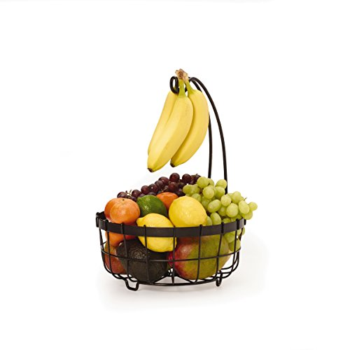 Gourmet Basics by Mikasa General Store Center Piece Basket with Banana Hook, Antique Black by Gourmet Basics by Mikasa -