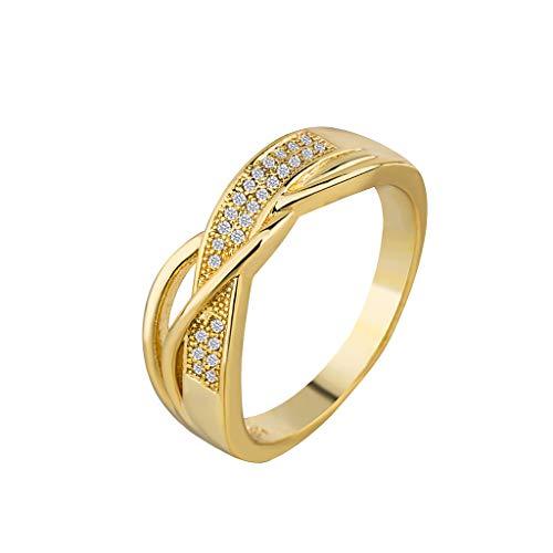 Nourich - fede nuziale da donna con diamanti sintetici, placcata in oro 18 carati, idea regalo per anniversario, san valentino, festa della mamma