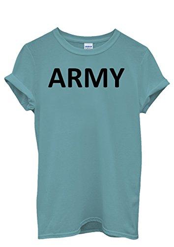 Army Soldier Cool Funny Men Women Damen Herren Unisex Top T Shirt Licht Blau