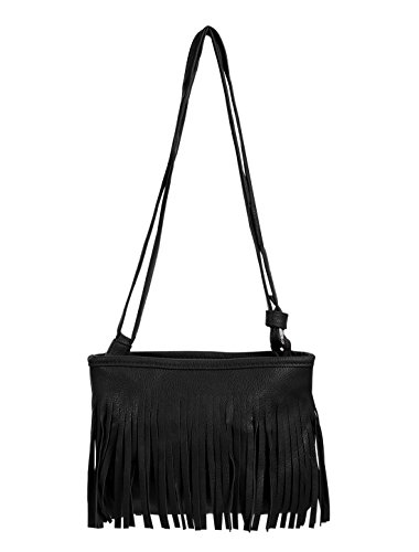 sourcingmap® Frauen Gesäumten Dual Schulter Gurt Zip Verschluss Messenger Tasche schwarz