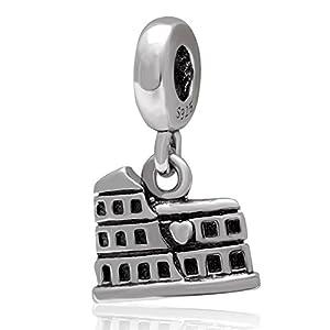 Ciondolo a forma del Colosseo di Roma, charm in argento Sterling 925, compatibile con braccialetti europei