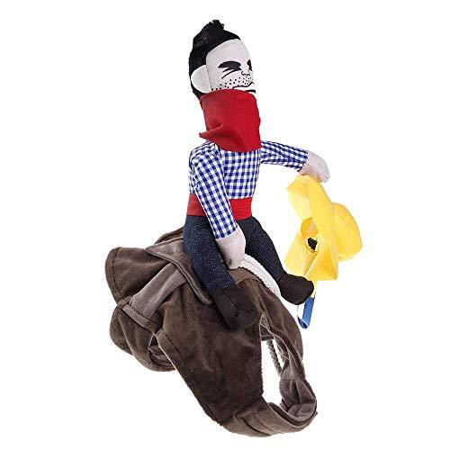 AOLVO Lustiges Cowboy Rider Hundekostüm, Verschiedene Größen, verstellbar, Ritterreiter-Stil, Doggy-Anzug mit Puppe und Hut, atmungsaktiv und bequem, für Hunde mit den Größen S/M/L/XL