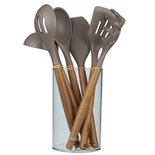 juvale Küchenhelfer Set–Gourmet Antihaft-Silikon Kochen Tools mit Bambus Griffe–Schöpflöffel, Spatel, Löffel, Pasta Server–Hellbraun/Grau–7-teiliges Set inkl. Halter